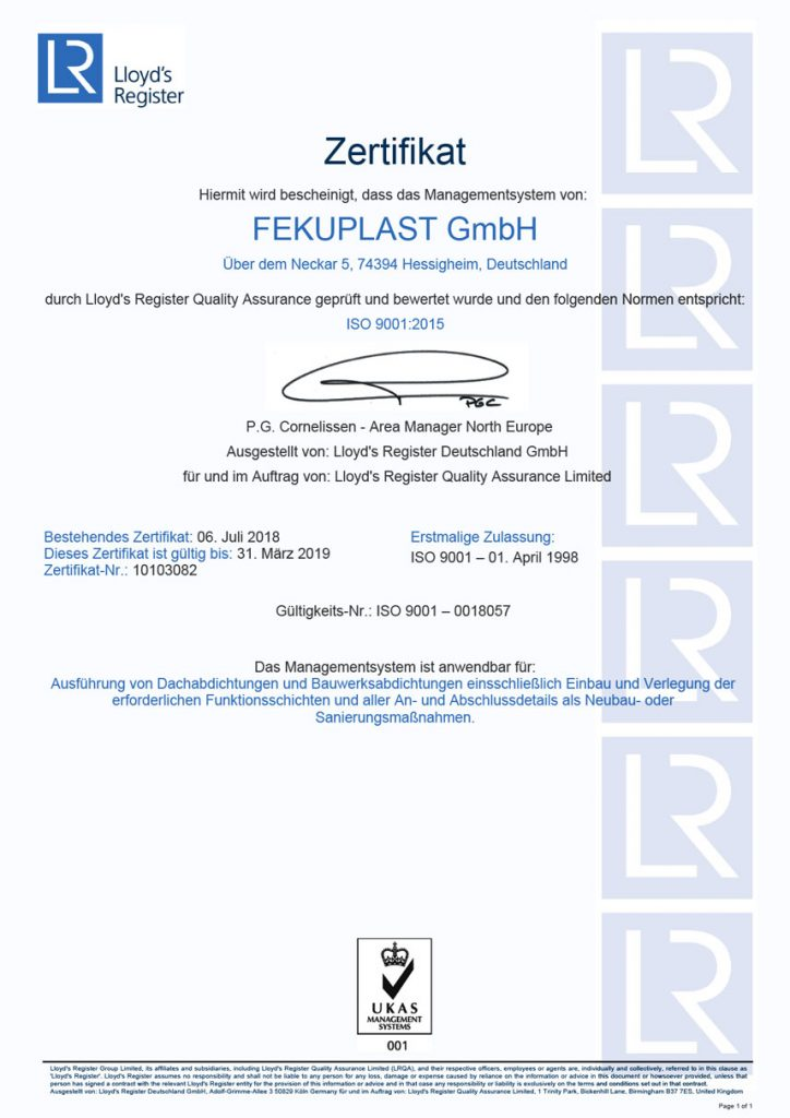 ISO 9001 Zertifikat der Fekuplast GmbH